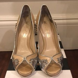 camel and silver L.A.M.B open-toed heels